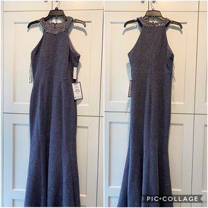 Evening gown. Halter style floor length dress.